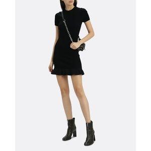 Alexander Wang Flared Hem Ribbed Knit Black Dress